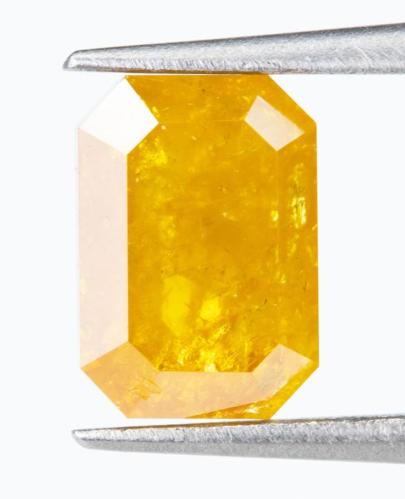Diamant - 0.92 ct - Naturel Fantaisie INTENSE Orange-Jaune - I2  *NO RESERVE*