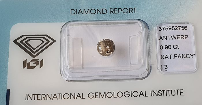 1 pcs Diamond - 0.90 ct - Round - fancy greyish brown - I3 (piqué)
