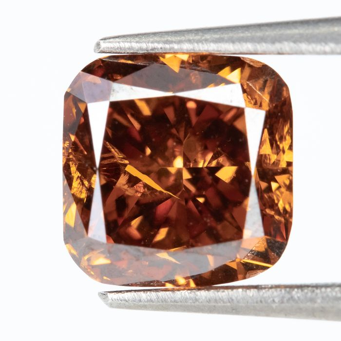 Diamant - 1.00 ct - Natural Fancy INTENSE Orange brunâtre - SI2  *NO RESERVE*
