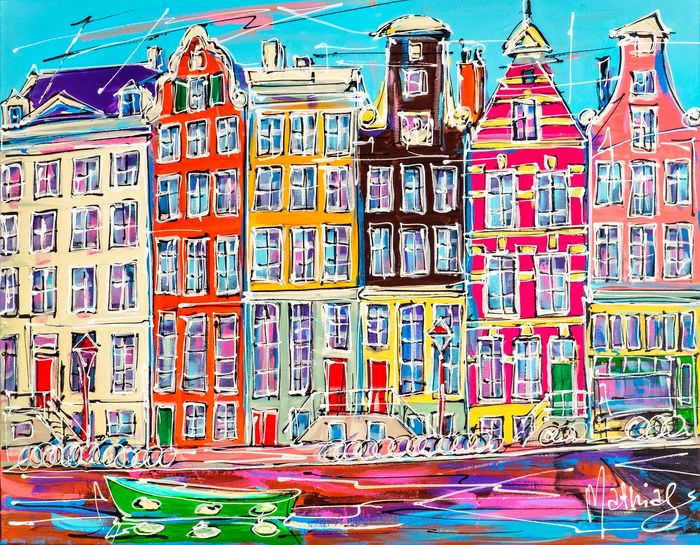 Mathias - Canal of Amsterdam, colored typical houses