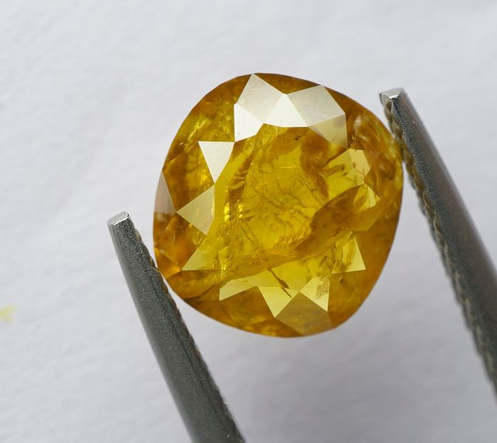 1 pcs Diamant - 1.28 ct - Coussin. Rose Cut - fancy orange yellow - I2- No Reserve