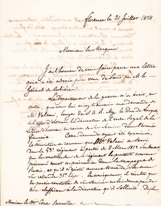 Louis Bellocq  - Autograph; Letter for Confirming the Identity of a Legion of Honor Soldier - 1838