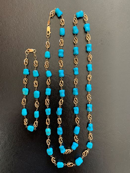 18K gold and turquoise - Necklace and bracelet