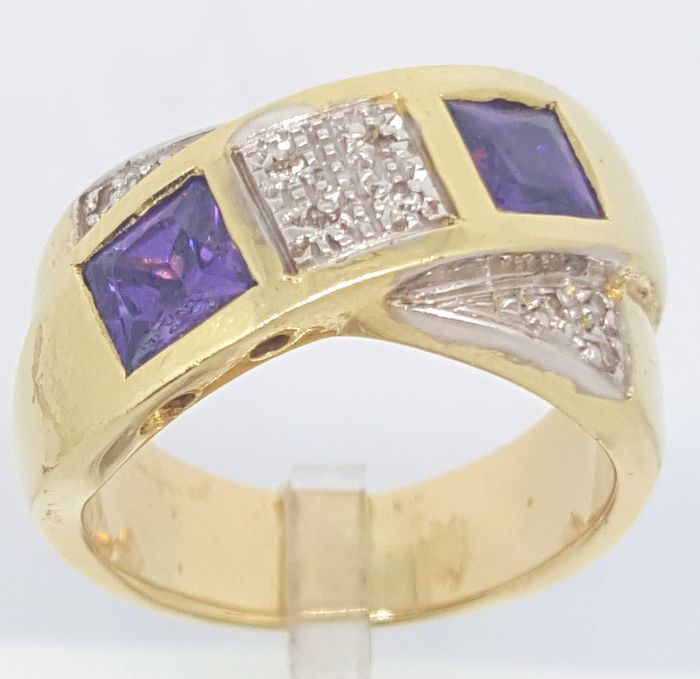 18 kt Gelbgold - Ring - 1.00 ct Amethyst - Diamant