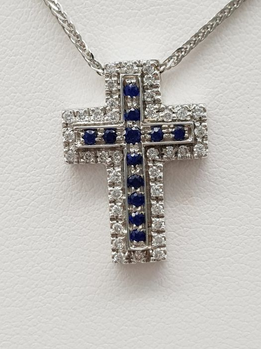 VIERI - HRD Certificate - no reserve price - 18 kt. White gold - Necklace, Necklace with pendant - 0.25 ct Diamond - Sapphires