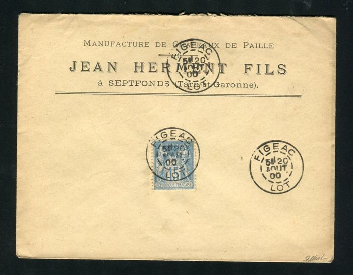 France 1900 - A lovely letter from Figeac bound for Septfonds - very atypical franking
