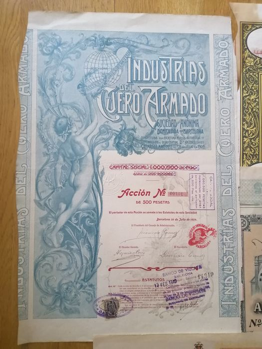Bonds and Shares  (4) - Art Nouveau - Spain - Group of four decorative certificates - various industries - See pictures and description