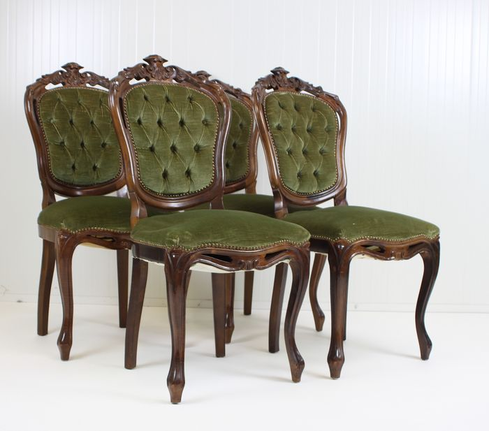 4 Mahogany Willem III dining room chairs covered with green velvet (4) -  Wood - Late 19th century - Catawiki