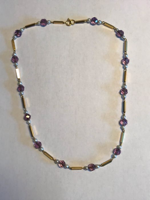 18 kt. Saltwater pearls, Yellow gold - Necklace - 14.00 ct Amethyst