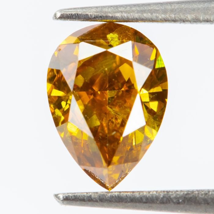 Diamond - 0.40 ct - Natural Fancy INTENSE Brownish Orangy Yellow - SI2  *NO RESERVE*