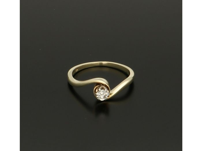 14 carats Or - Bague - 0.13 ct Diamant