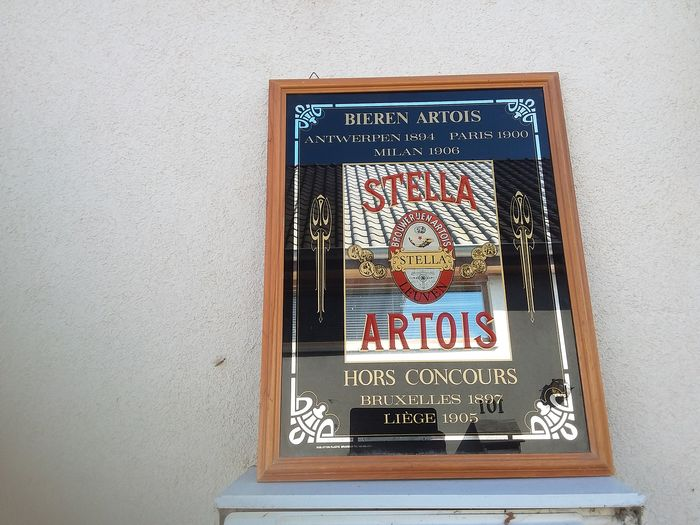 old advertising board stella artois. (1) - Glass