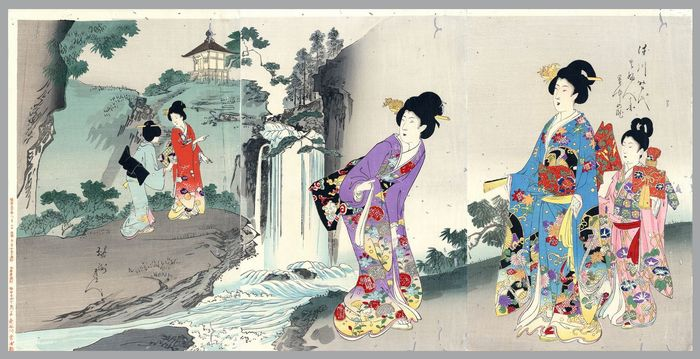 "Trittico, Xilografia originale - Toyohara Yoshu Chikanobu (1838-1912) - Five women at the waterfall - From the series ""The Appearance of Upper-Class Women of the Tokugawa "" - 1897"