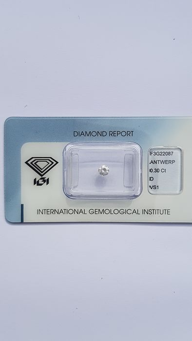 1 pcs Diamant - 0,30 ct - Brillant - D (incolore) - VS1