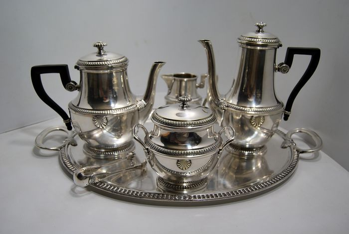 Christofle - Gallia - Coffee and tea service (6) - Louis XVI - Silver plated