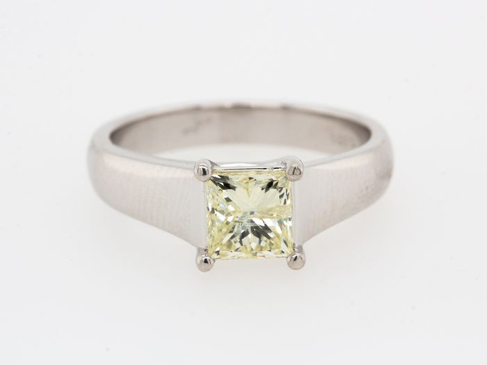 14 kt Weißgold - Ring - 1.20 ct Diamant - Fancy Light Yellow - Kein Mindestpreis
