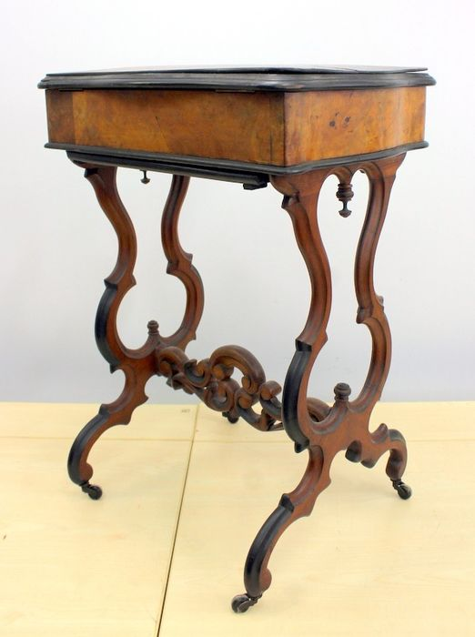 A sewing cabinet with complete interior - Wood- Mahogany, Wood- Walnut