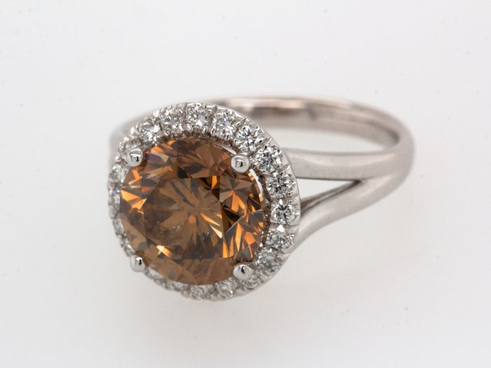18 kt Weißgold - Ring - 4.01 ct Diamant - Fancy Deep Orange - Kein Mindestpreis