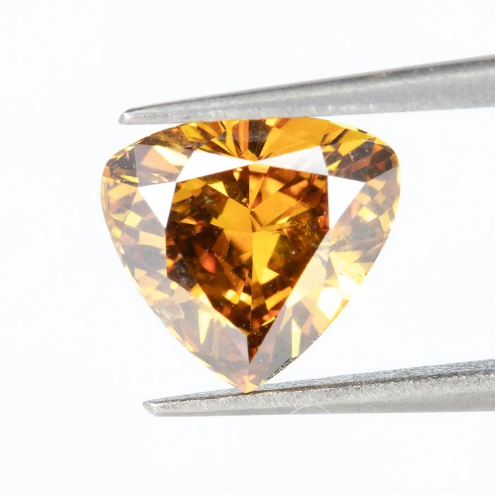 Diamond - 1.00 ct - Natural Fancy VIVID Yellowish Orange - SI1  *NO RESERVE*