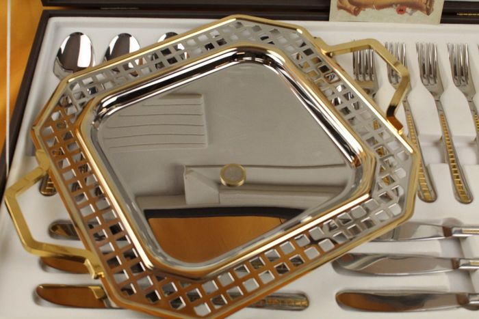 inoxpran - cutlery service + tray - Goldplate, Steel (stainless)