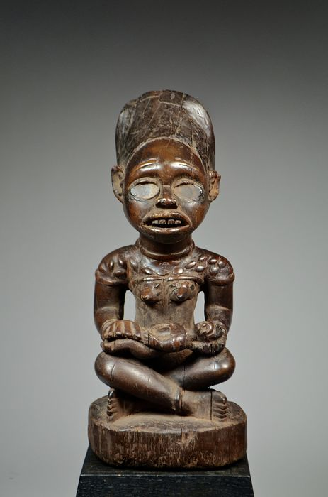 Maternity figure - Glass, Wood - PHEMBA - Mayombé - Democratic Republic of Congo