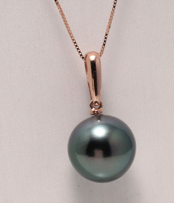 No reserve price - 14 kt. Rose Gold - 11x12mm Round Tahitian Pearl - Necklace with pendant