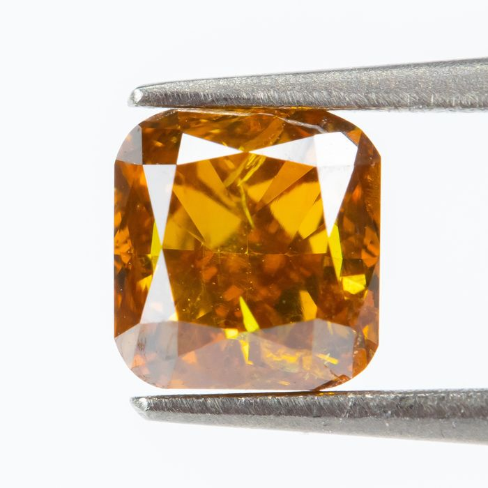 Diamond - 0.60 ct - Natural Fancy INTENSE Brownish Yellowish Orange - SI2  *NO RESERVE *