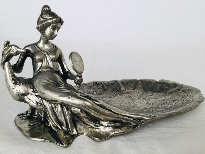 """Beautiful pewter """"Vide Poche"""" dish, Art Nouveau style - Elegant representation of young lady and peacock, looking together in her hand mirror, graceful"""