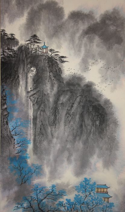 Hanging scroll (1) - Paper, Silk, Wood - landscape 山水 painting - China - Second half 20th century