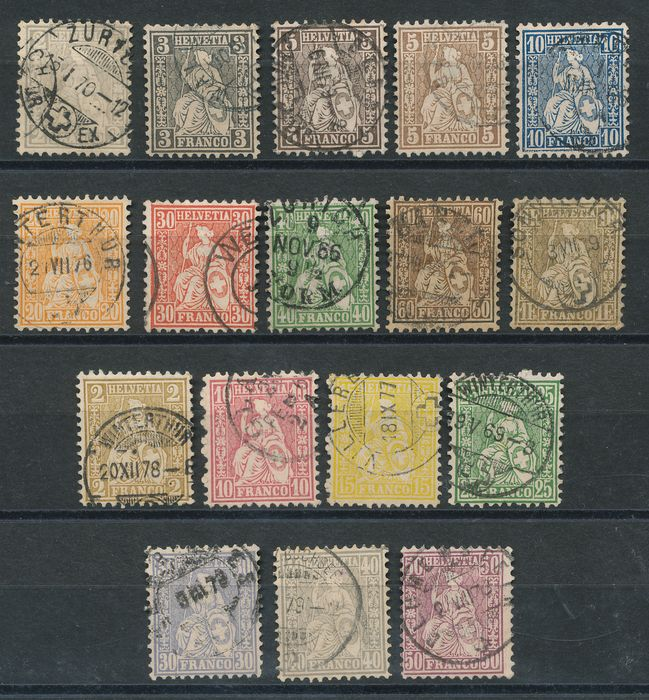 Switzerland 1862/1882 - Sitting Helvetias on normal paper