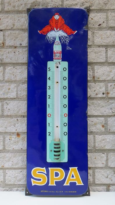 Spa Monopole - Thermometer in enamel / enamel from 1959 - Artemail S.A. Brux.