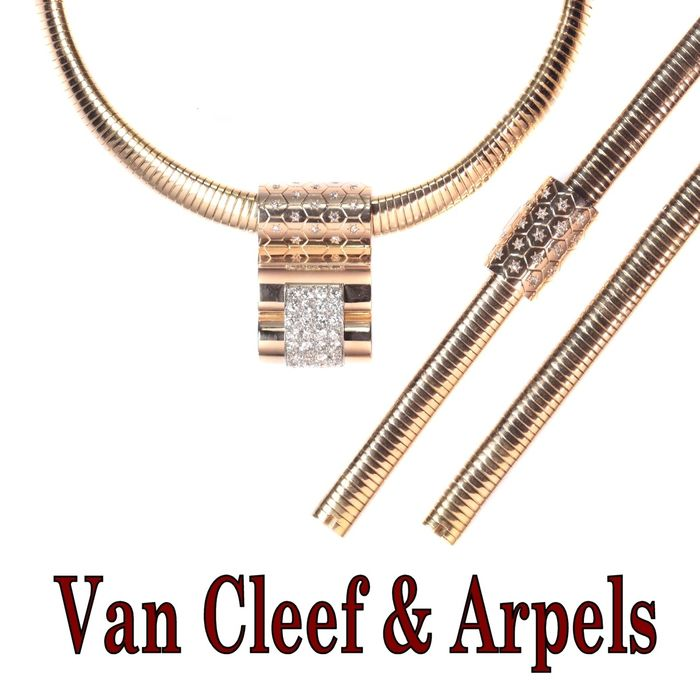 18 kt. Pink gold - Set, Van Cleef and Arpels parure: matching necklace and bracelet - Diamond - TDW 4.21ct.
