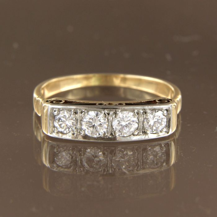14 kt. White gold, Yellow gold - Ring - 0.50 ct Diamond