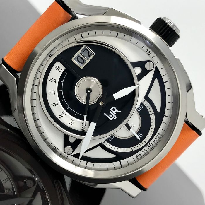 L&JR - Day and Date Black and White Dial with Orange Strap Swiss Made - S1303-S5 - Bărbați - Brand New