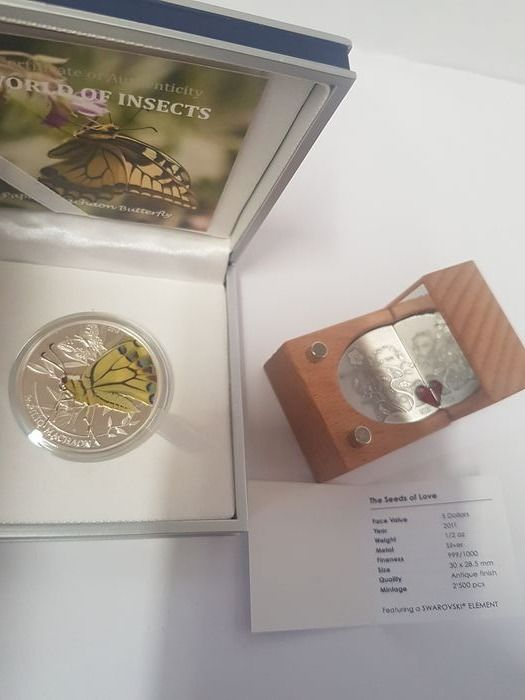 Cook Islands, Palau - 5 dollar & 2 dollar Dollar 2011 & 2013 The seeds of love &  Papilio Machaon Butterfly - 2 x 1/2 Oz - Silver