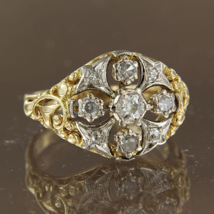 18 quilates Oro amarillo, Oro blanco - Anillo - 0.50 ct Diamante