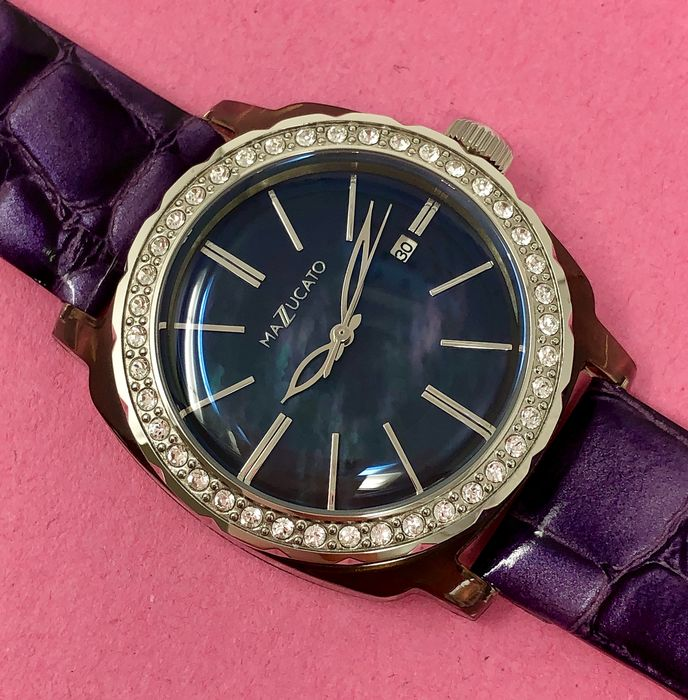 """Mazzucato - Ego Centric 40 Crystals Purple Mother of Pearl Customisable with Three Straps and Three Cases - E.G.O.003MOPWHITEE """"NO RESERVE PRICE"""" - Dames - Brand New"""