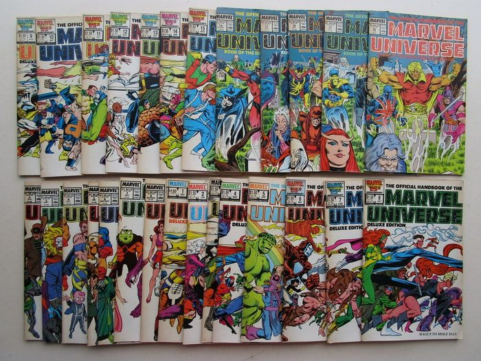 28 x Marvel Universe - 8x Marvel universe update 1989 - 20 x Marvel Universe deluxe edition - Stapled - First edition - (1985/1989)