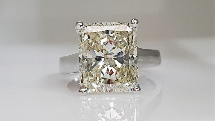 18 kt. White gold - Ring - Clarity enhanced 4.58 ct Diamond