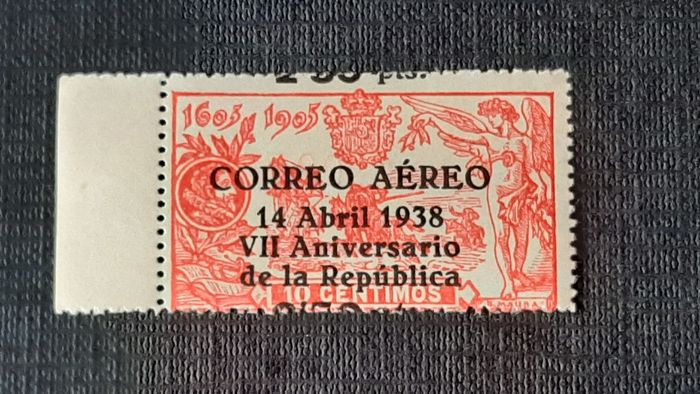 Spain 1938 - 7th Anniversary of the Republic, shifted overcharge - Edifil 756