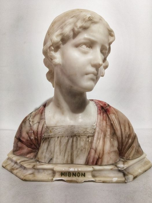 Giuseppe Bessi (1857-1922) - Bust, Sculpture (1) - Art Nouveau - Alabaster, Marble - Late 19th century