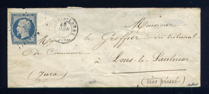 France 1854 - Rare letter from St Genis Laval bound for Lons le Saulnier with N°15 (25 cents Empire)