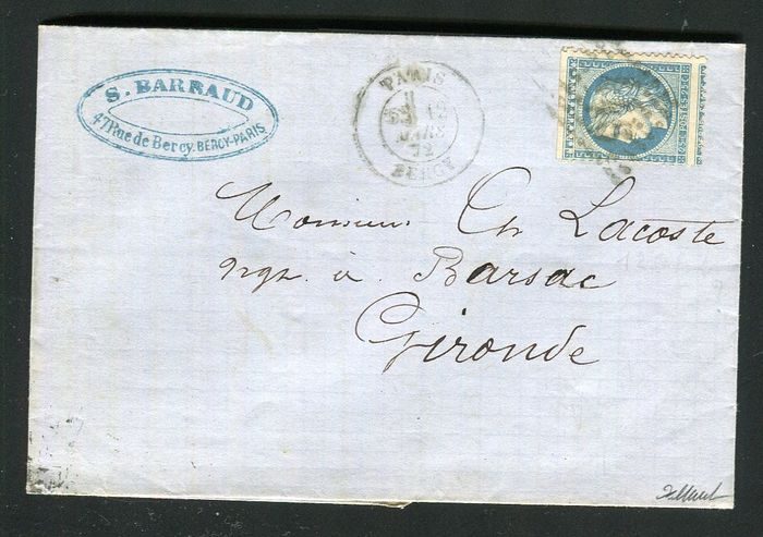 Frankrijk 1872 - Rare letter from Paris bound for Barsac - Perforation error variety on a N°60