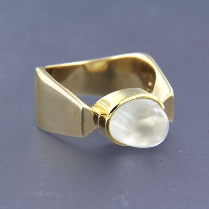14 kt. Yellow gold - Ring moonstone - Diamond