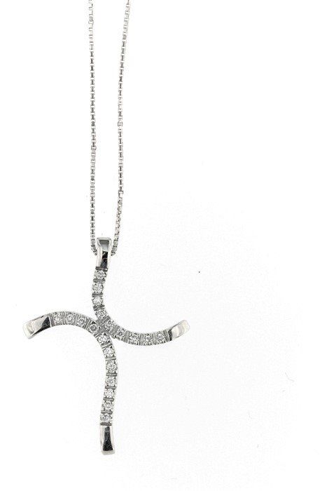 Made in Italy - 18 kt. White gold - Necklace with pendant - 0.20 ct Diamond