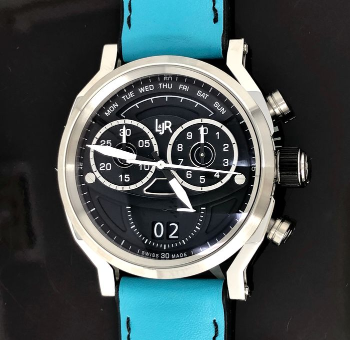 L&JR - Chronograph Day and Date Black Dial with Miami Blue Strap Swiss Made - S1502-S9 - Men - Brand New