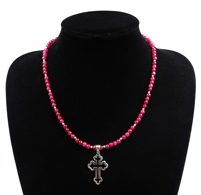 Necklace of ruby and silver beads adorned with a cross in solid silver - .925 silver