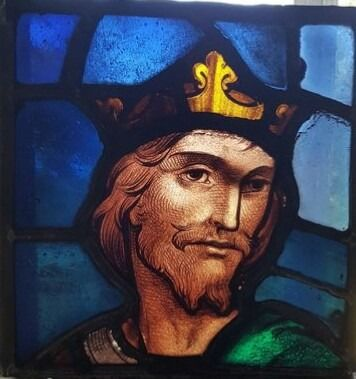 Glass object, Portrait of a Medieval knight - Stained glass