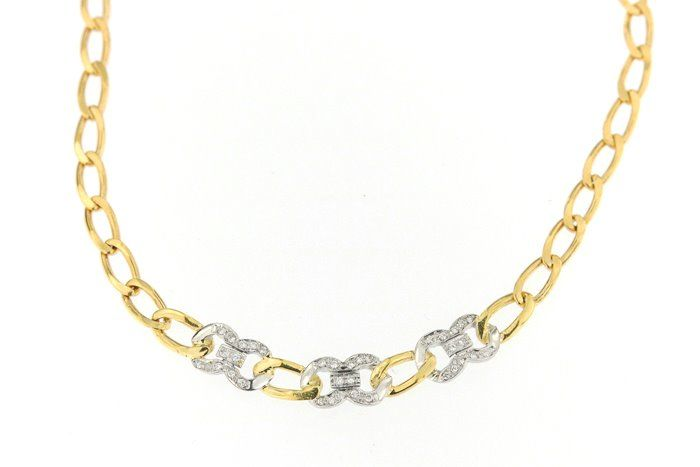 Urbano - Made in Italy - 18 kt. White gold, Yellow gold - Necklace - 0.36 ct Diamond