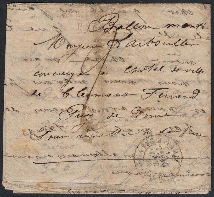 Frankrijk 1870 - 'Le Victor Hugo' balloon mail, cancelled + tax, bound for Clermont-Ferrand